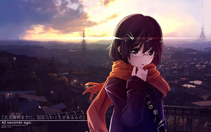 black eyes brown hair city clouds glasses landscape matsumae takumi original scarf scenic sky sunset watermark wallpaper