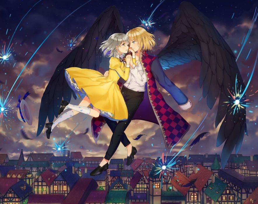 blonde hair city dangmill dress feathers fireworks gray hair hat howl kneehighs male necklace night original sky sophie hatter wings wallpaper