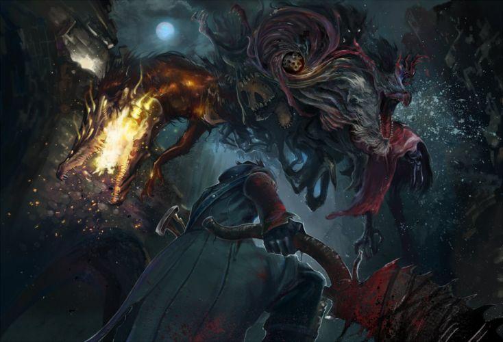 blood bloodborne dark dragon gloves moon night original shibafu no atama the hunter weapon wallpaper