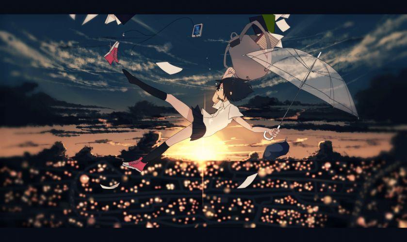 book clouds kneehighs machiyaa original paper phone scenic seifuku skirt sky sunset umbrella wallpaper