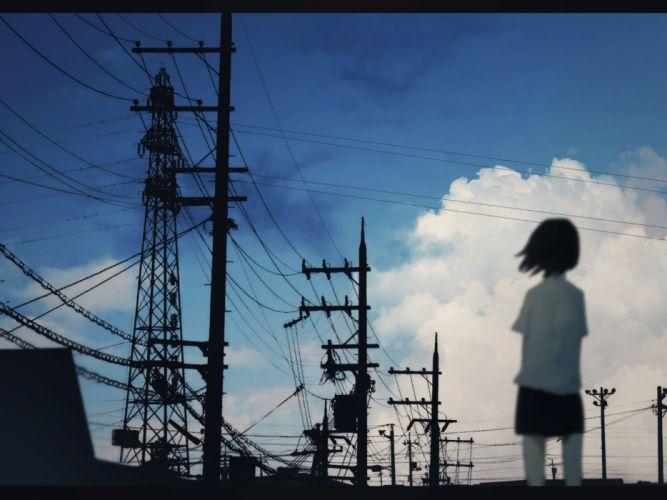 clouds industrial machiyaa original scenic seifuku short hair silhouette sky sunset wallpaper