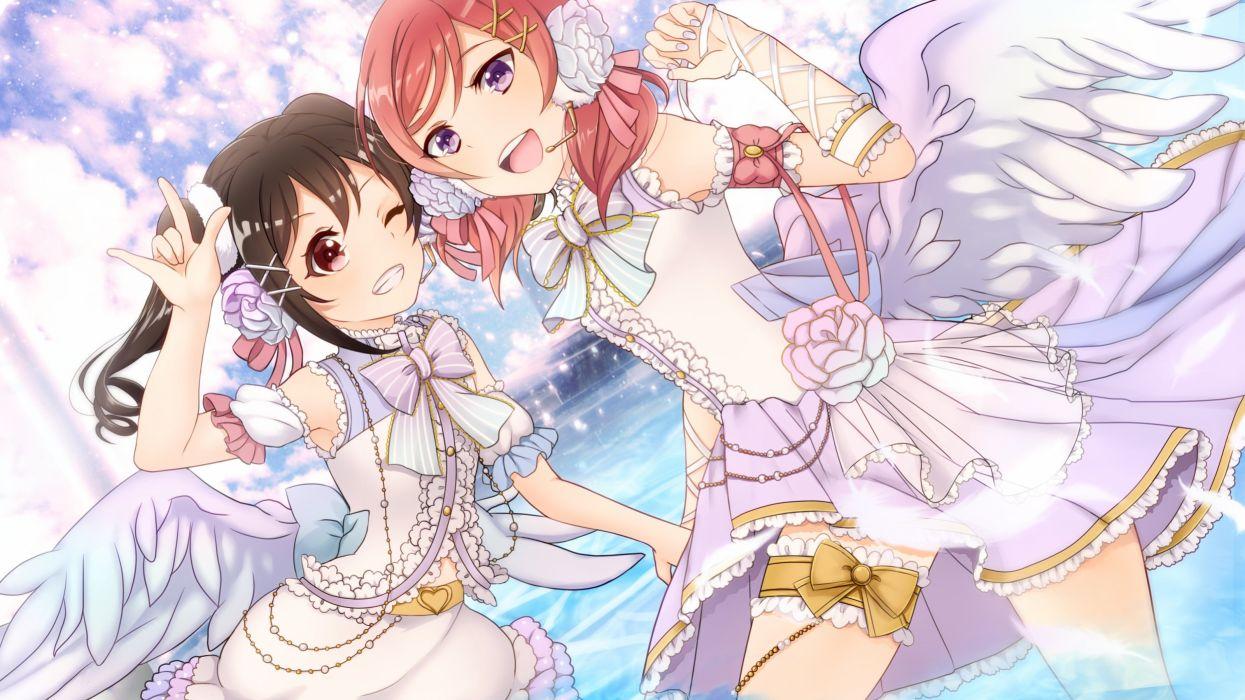 girls bow brown hair dress flowers garter heart kurono kito microphone nishikino maki pink hair purple eyes red eyes twintails wings wink yazawa nico wallpaper