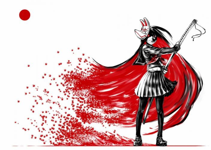 jaco katana leaves long hair mask navel original pantyhose polychromatic seifuku sword weapon white wallpaper