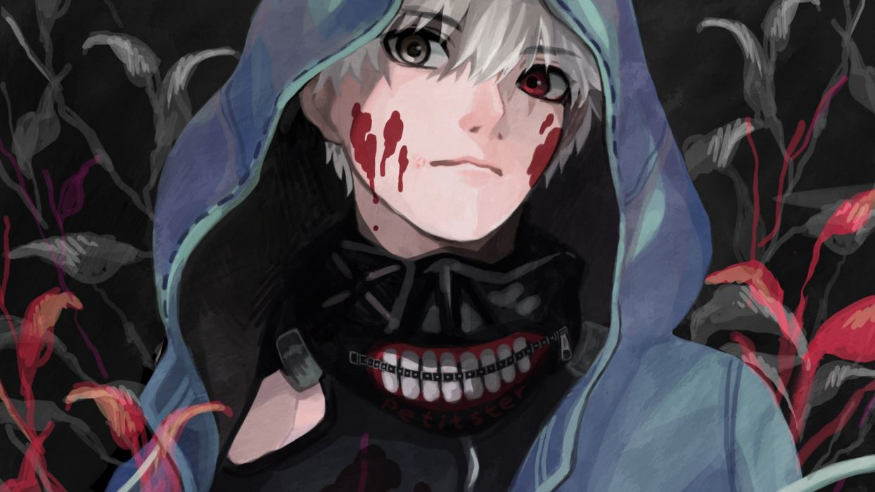 Male Bicolored Eyes Hoodie Kaneki Ken Male Mask Petitster Short Hair Tokyo Ghoul White Hair Wallpaper 2048x1152 704522 Wallpaperup