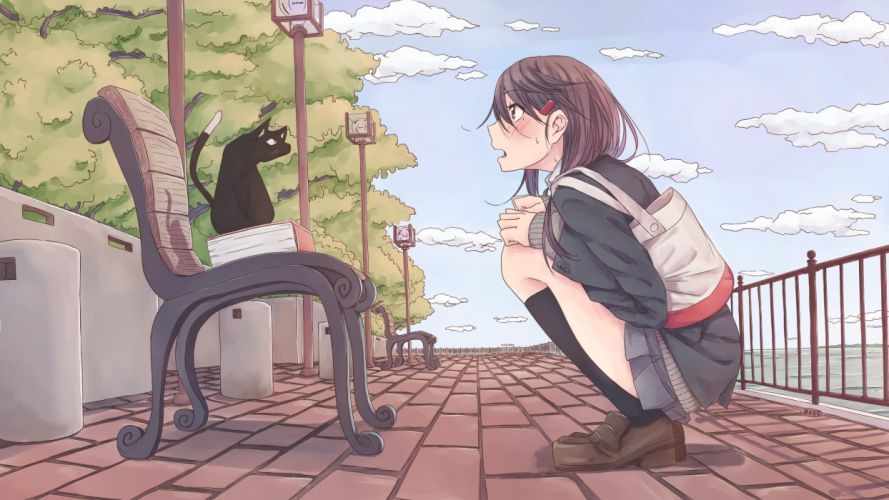pacers animal blush book brown hair cat clouds kneehighs original park seifuku skirt tree wallpaper