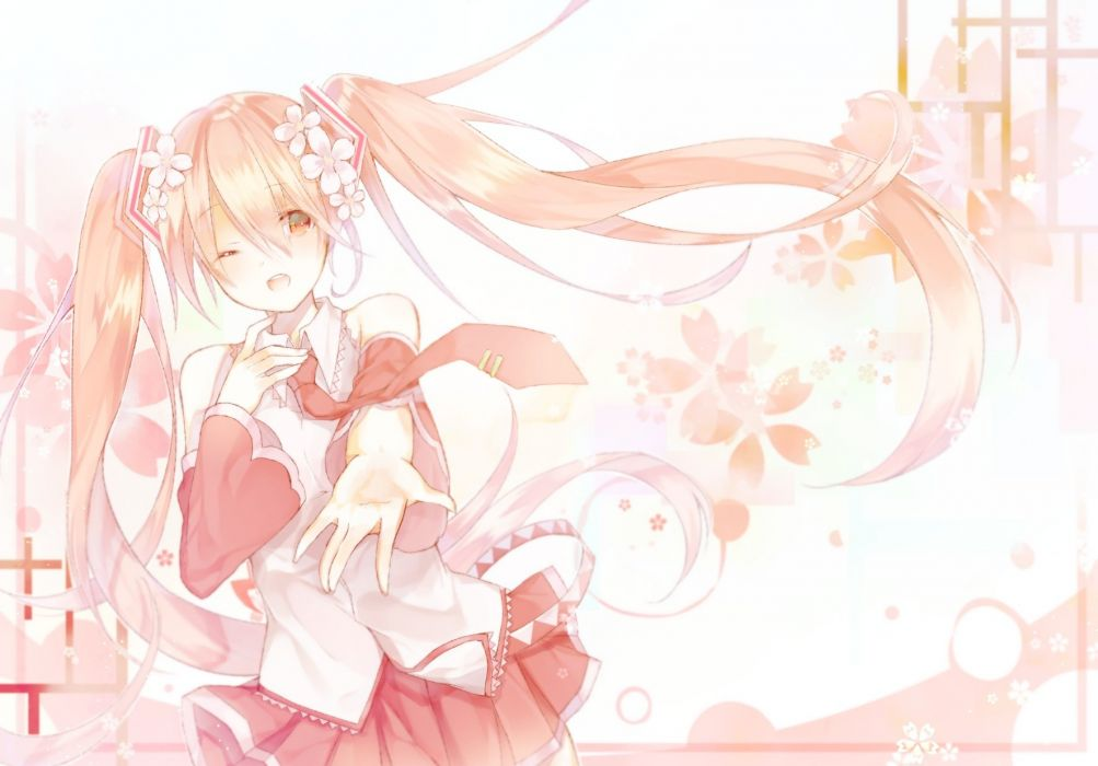 akatsuki ryu flowers hatsune miku long hair monochrome sakura miku skirt tie twintails vocaloid wink wallpaper