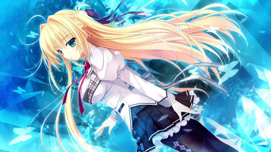 alia's carnival aqua eyes blonde hair blue butterfly game cg long hair nanao naru nanawind pantyhose ribbons sakurakouji tsukuyomi seifuku wallpaper