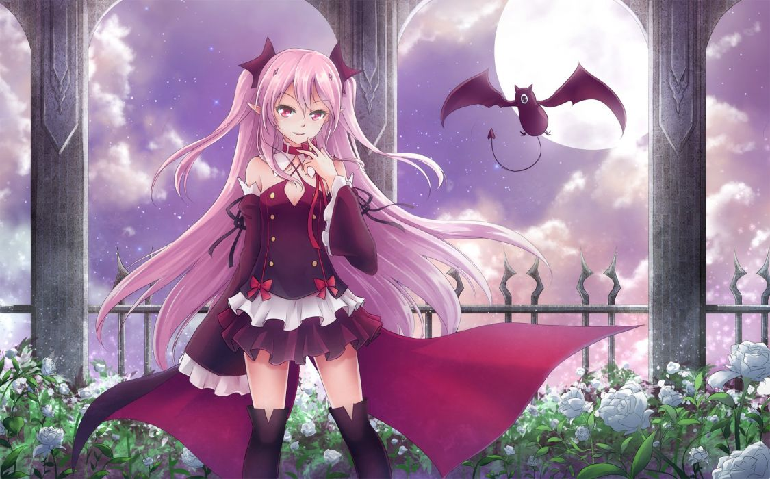 animal asakurashinji bat cape collar fang flowers krul tepes moon night owari no seraph pink hair pointed ears thighhighs vampire wallpaper