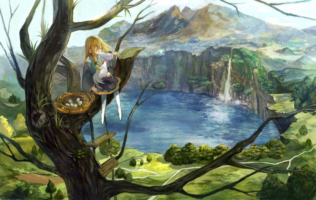animal bird blonde hair landscape original rope scenic stairs tamu (tamurarucaffe1226) tree water waterfall wallpaper