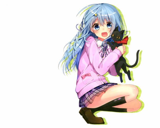 animal blue eyes blue hair bow cat kneehighs long hair mishima kurone original seifuku skirt stockings white wallpaper