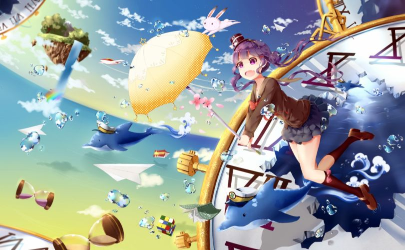 animal book bubbles bunny dolphin fish hat kneehighs original pink eyes pink hair shakugan (natural stay) skirt umbrella water waterfall wallpaper