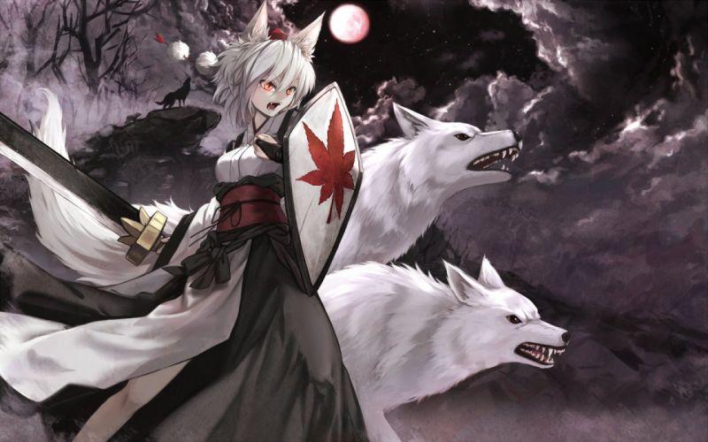 animal ears cloudy r fang inubashiri momiji japanese clothes moon polychromatic red eyes sword touhou tree weapon wolf wolfgirl wallpaper