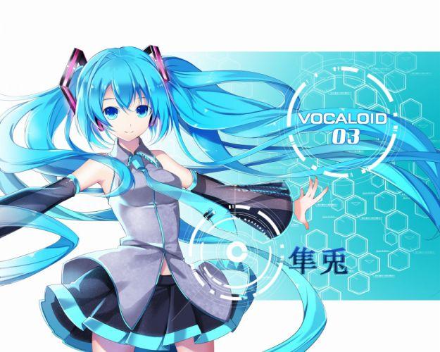 aqua eyes aqua hair hatsune miku long hair vocaloid wallpaper