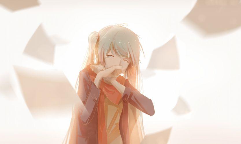 aqua hair hatsune miku long hair paper scarf tears twintails vocaloid white yyb wallpaper