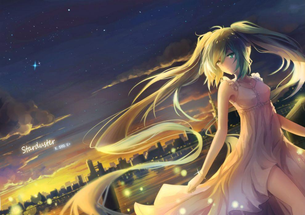 aqua eyes city clouds dress hatsune miku kuroi asahi long hair necklace scenic sky sunset twintails vocaloid wristwear wallpaper