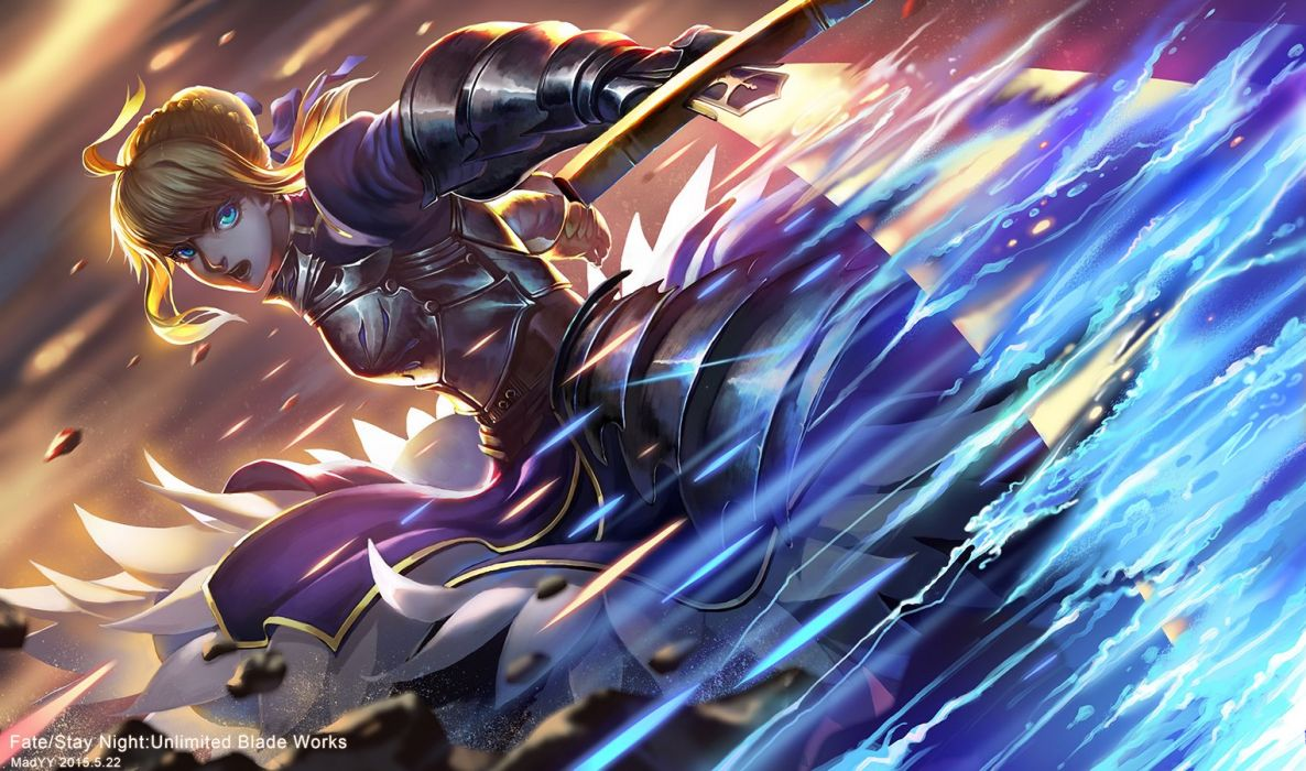 armor blonde hair fate stay night madyy saber sword weapon wallpaper