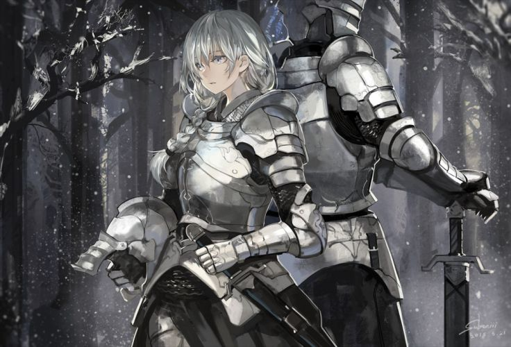 armor braids forest gray eyes gray hair long hair original polychromatic saberiii signed snow sword tree weapon wallpaper