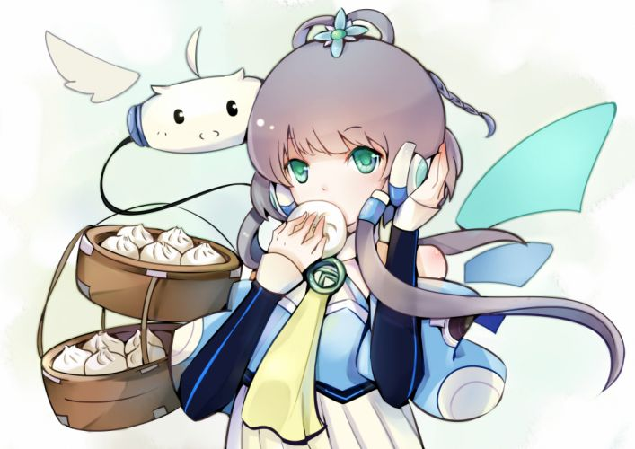 aqua eyes benghuai 7 food gray hair long hair luo tianyi tian dian vocaloid vocaloid china wallpaper