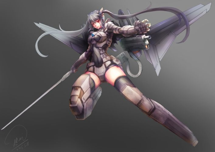 armor gray gray hair gun long hair mechagirl original red eyes shou mai signed sword thighhighs twintails weapon wallpaper