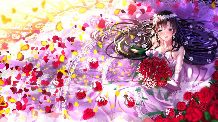 black hair blue eyes elbow gloves flowers headdress hiratsuka shizuka long hair petals rose swordsouls wedding attire wallpaper