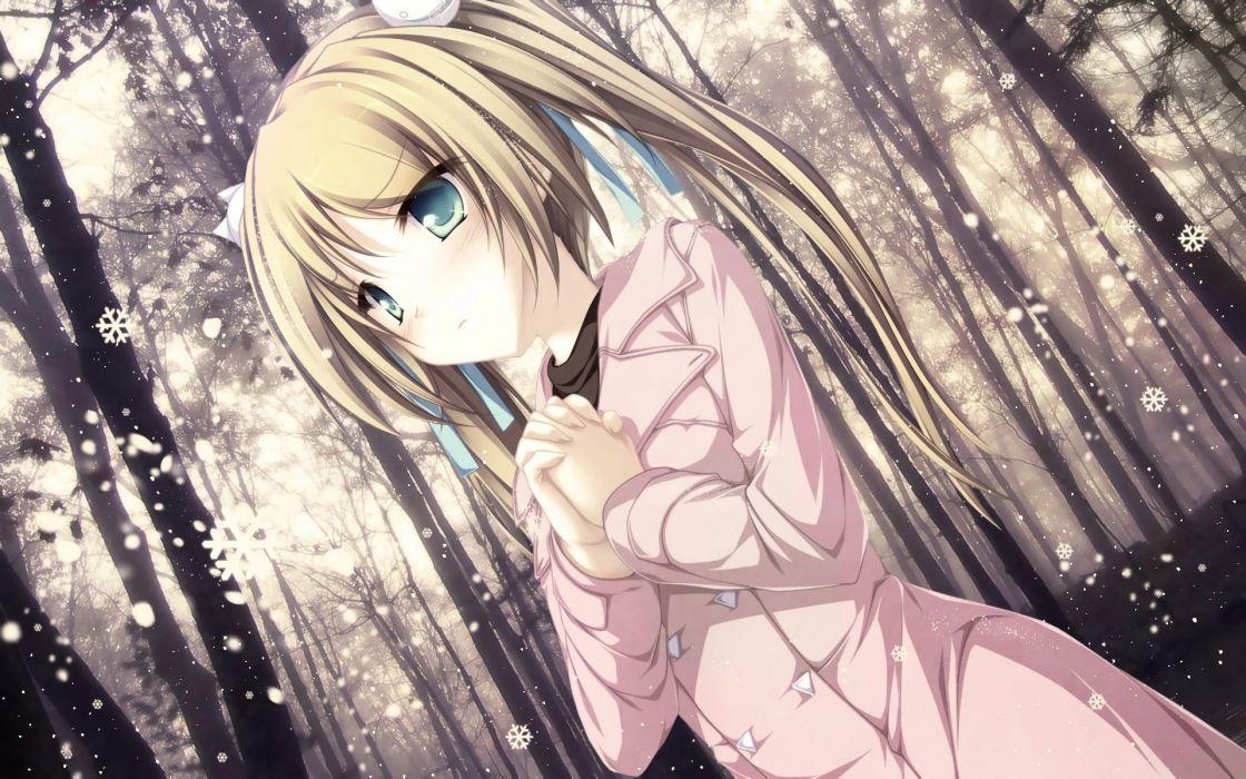 blonde hair blush forest green eyes hisagihara ui long hair ribbons snow suzukaze no melt tenmaso tree twintails wallpaper