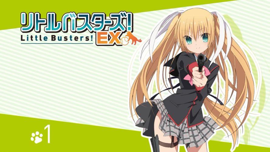 blonde hair green eyes gun little busters! long hair seifuku skirt tagme (artist) tokido saya weapon wallpaper