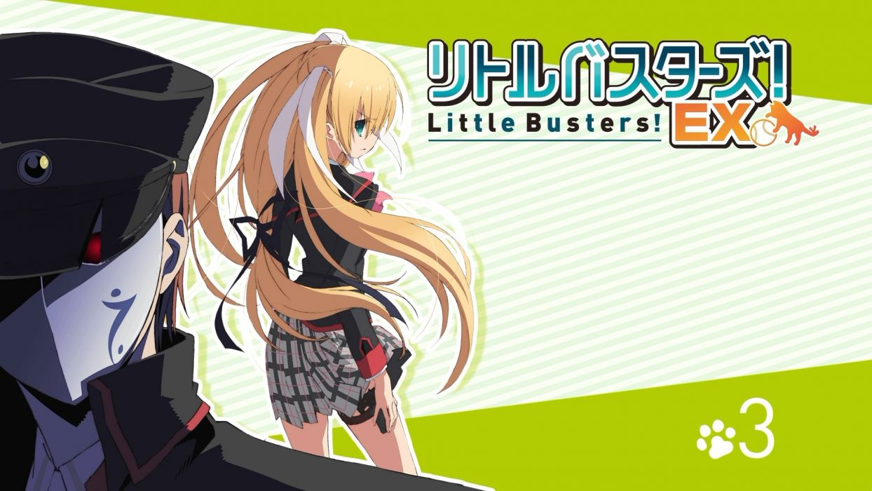 blonde hair gun little busters! long hair seifuku skirt tagme (artist) tokido saya weapon wallpaper