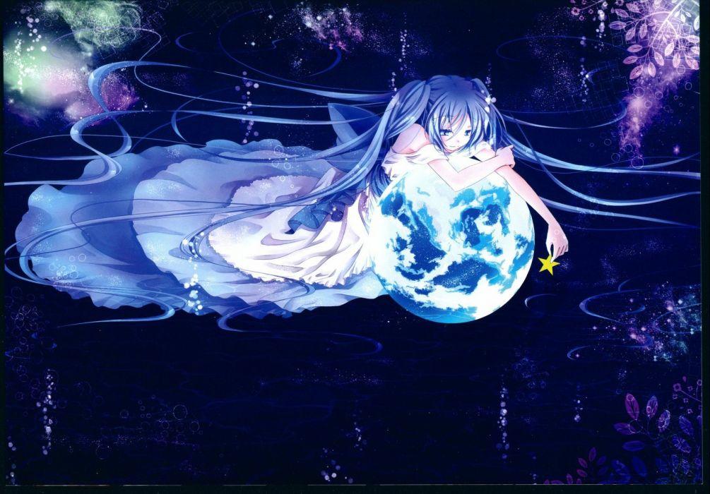 blue eyes blue hair hatsune miku long hair planet space stars twintails vocaloid wallpaper
