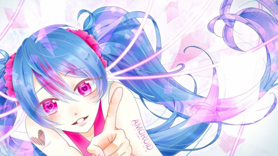 blue hair hatsune miku long hair pink eyes tagme (artist) twintails vocaloid wallpaper