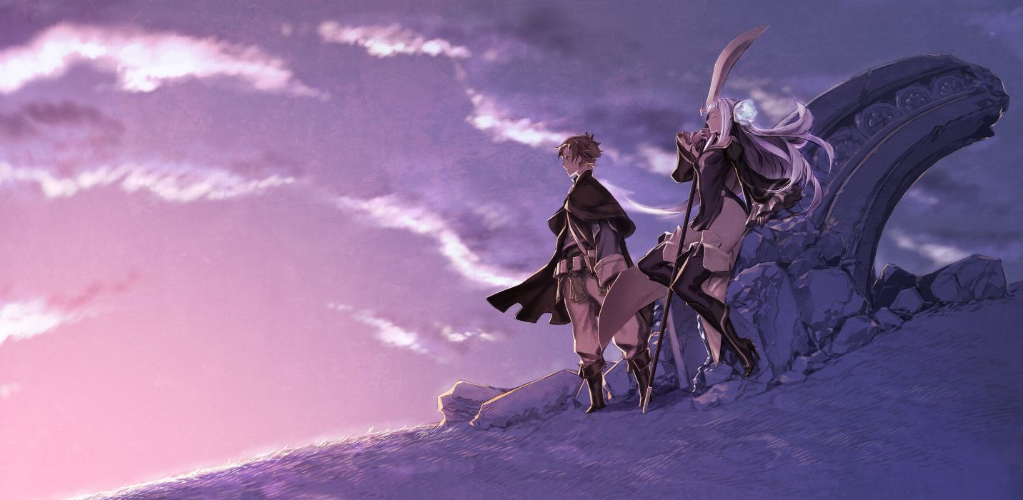 boots bravely second cape long hair magnolia arch male miwa shirow scenic short hair spear thighhighs weapon wallpaper
