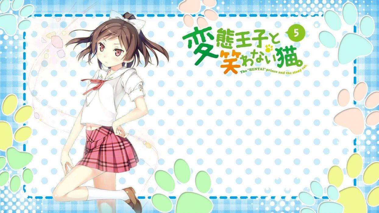 bow brown hair hentai ouji to warawanai neko kantoku kneehighs maimaki mai navel pink eyes ponytail seifuku skirt wallpaper
