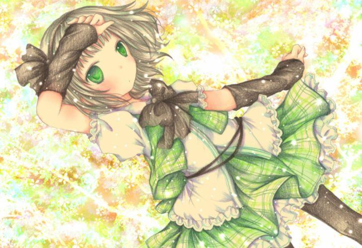 bow dress gray hair green eyes headband kasuga sunao konpaku youmu short hair touhou wallpaper