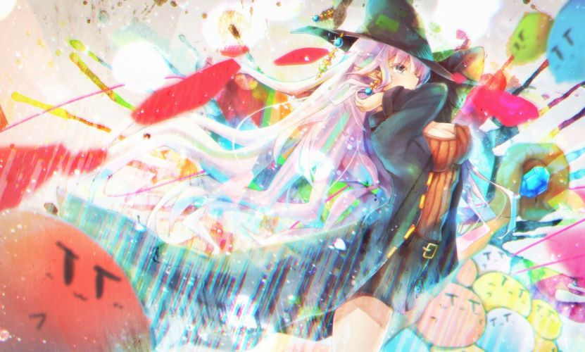 breasts cleavage cyanomirahi hat long hair original pink hair pointed ears witch hat wallpaper