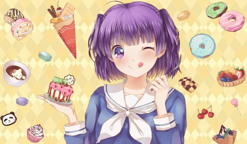 cake cherry drink food fruit hoshino ryuu ice cream lollipop morino kirin purple eyes purple hair seifuku short hair strawberry twintails wink wallpaper