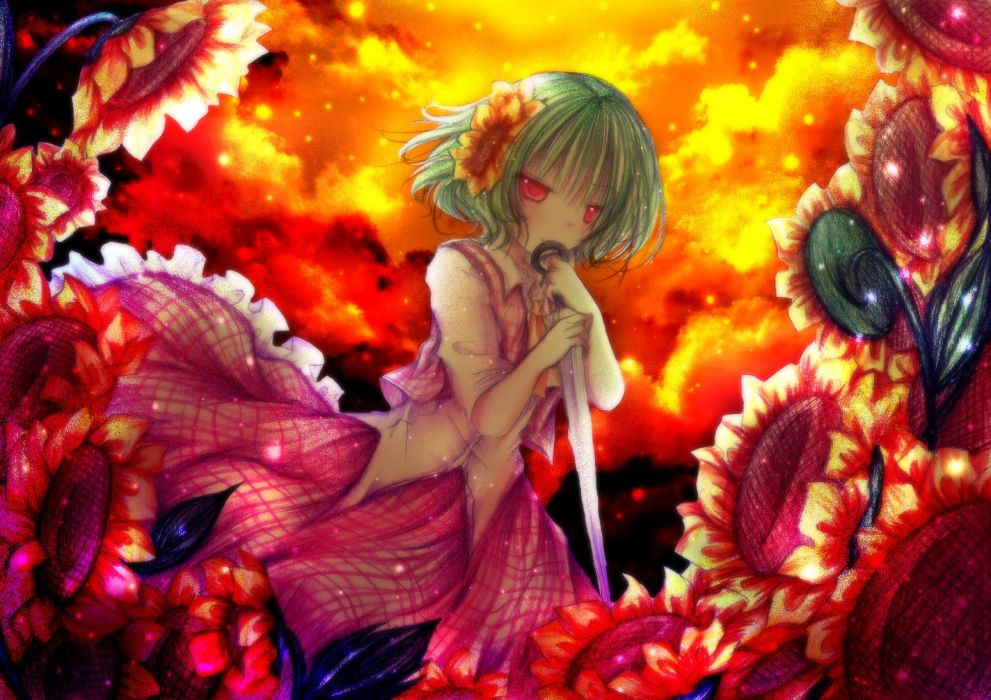 dress flowers green hair kasuga sunao kazami yuuka red eyes short hair sunflower touhou umbrella wallpaper