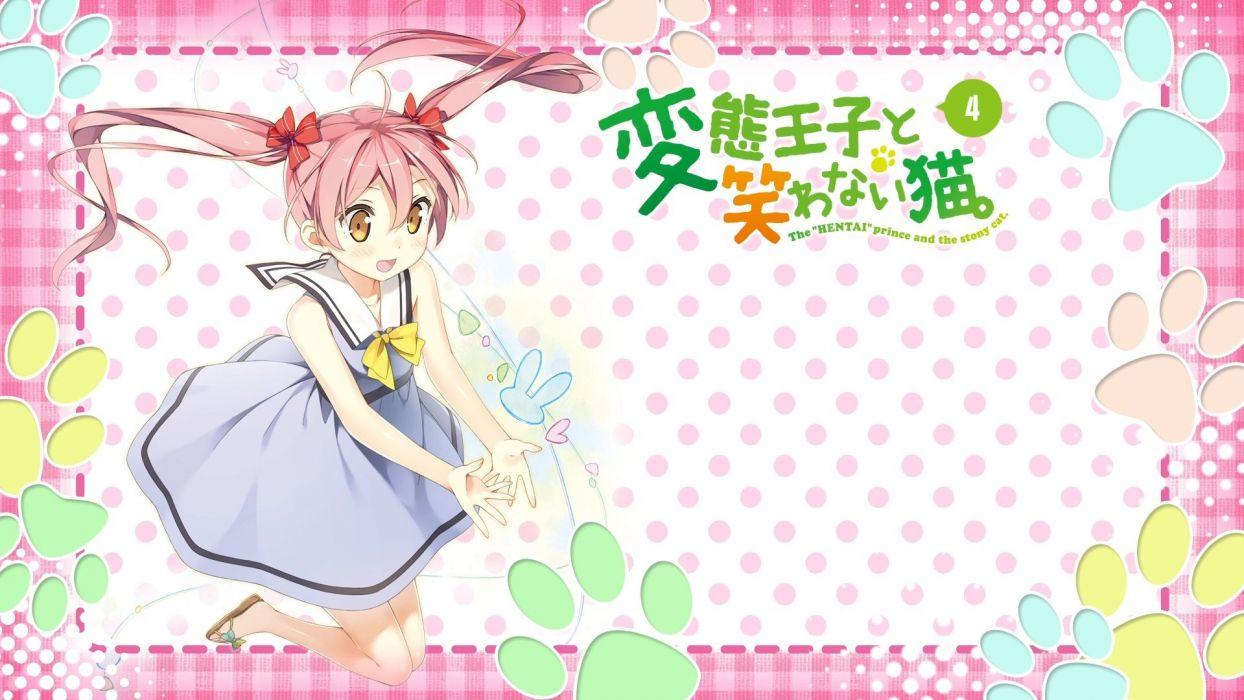 emanuela porelora hentai ouji to warawanai neko kantoku long hair pink hair summer dress twintails yellow eyes wallpaper