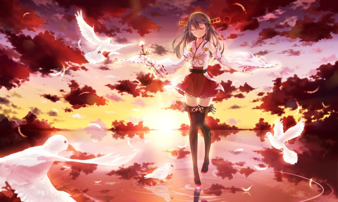 animal anthropomorphism bird black hair cherry blossoms clouds feathers flowers headband japanese clothes sky sunset thighhighs water zettai ryouiki wallpaper