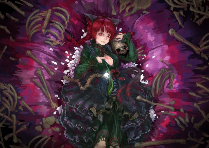 animal ears bones braids breasts catgirl cleavage fang goth-loli kaatoso kaenbyou rin petals red eyes red hair skull tail touhou twintails wallpaper