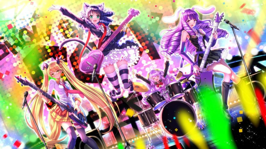blue hair blush catgirl dress drums garter glasses group guitar instrument kneehighs long hair pink eyes seifuku skirt swordsouls tail tie twintails wallpaper