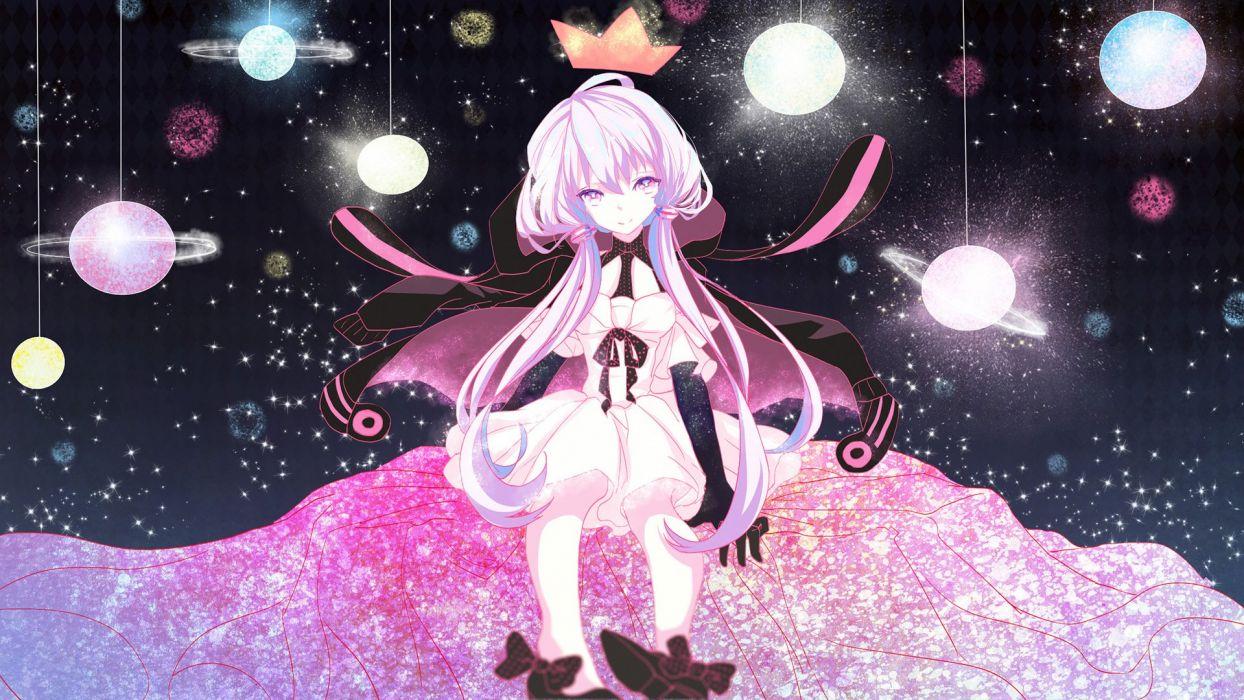 elbow gloves hoodie long hair planet polychromatic space stars twintails vocaloid yotsuba (vidaliu00) yuzuki yukari wallpaper