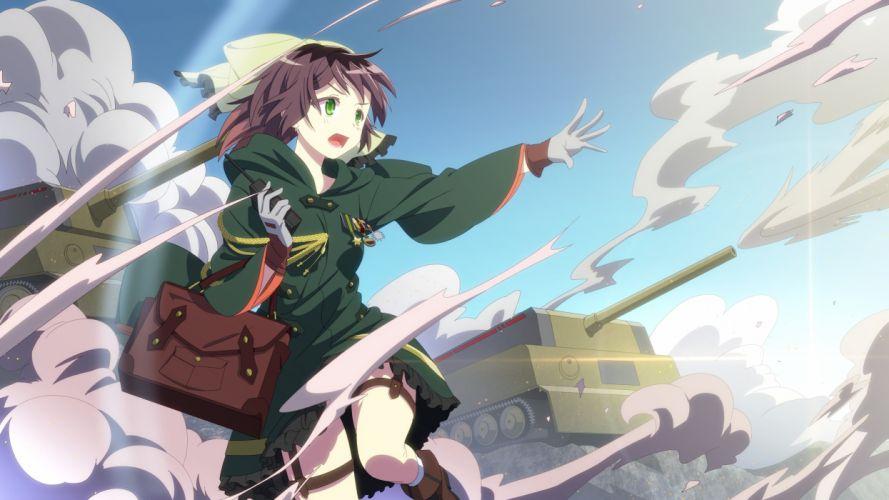boots brown hair chibiibiru combat vehicle gloves green eyes military phone short hair sky uniform wallpaper