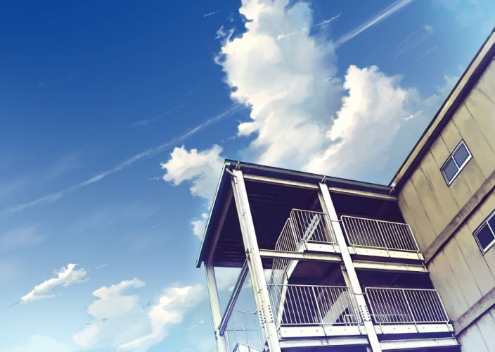 building clouds coach nobody realistic scenic sky stairs wallpaper