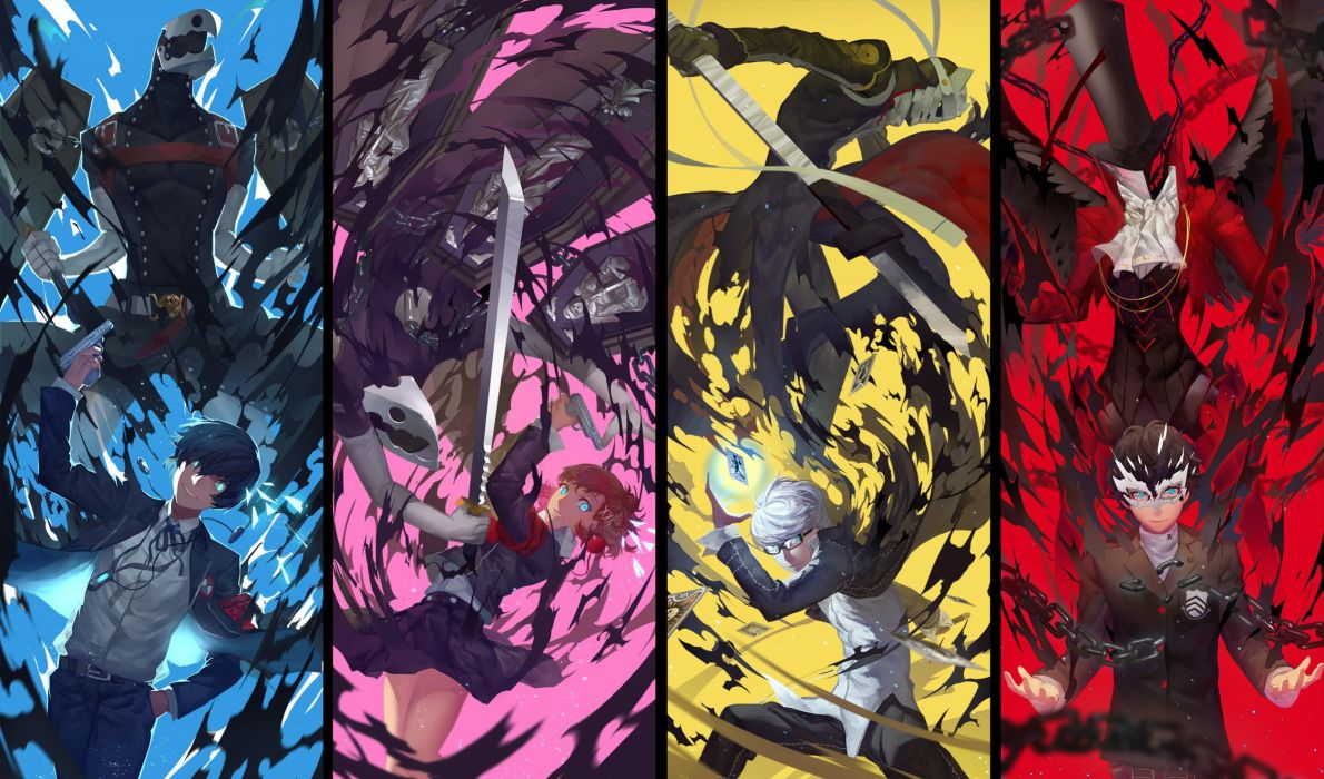 female protagonist (persona3) nanaya (daaijianglin) narukami yuu persona persona 3 persona 4 persona 5 protagonist (persona 5) wallpaper