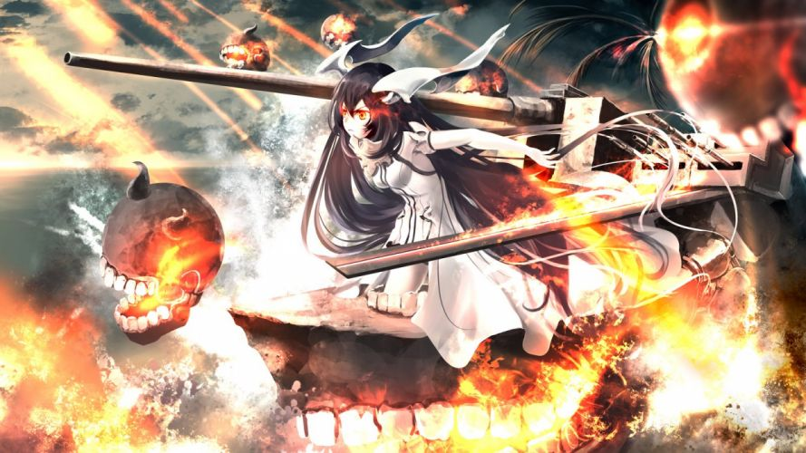 anchorage water demon black hair clouds dress fire horns kantai collection kouji (astral reverie) long hair orange eyes water wallpaper