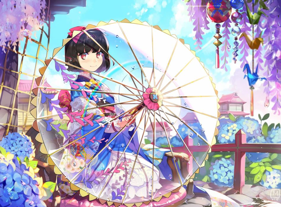 black hair blush bow building flowers japanese clothes kimono mansu original rainbow red eyes short hair signed umbrella wallpaper