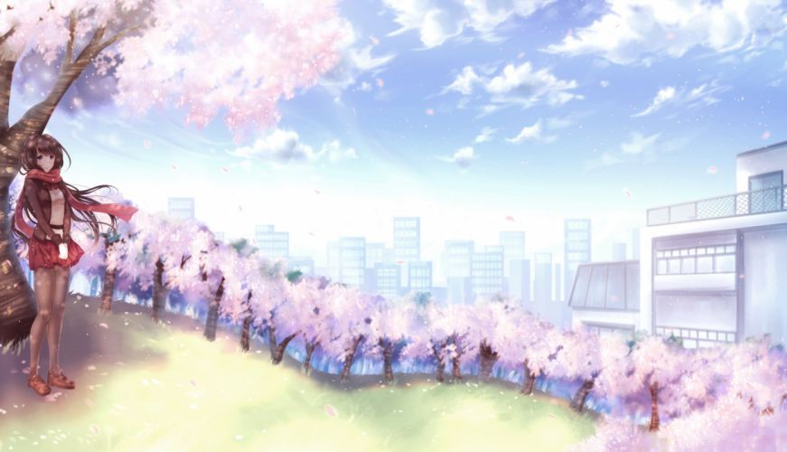 brown hair building cherry blossoms city clouds karo karo long hair original pantyhose petals scarf scenic skirt sky tree wallpaper