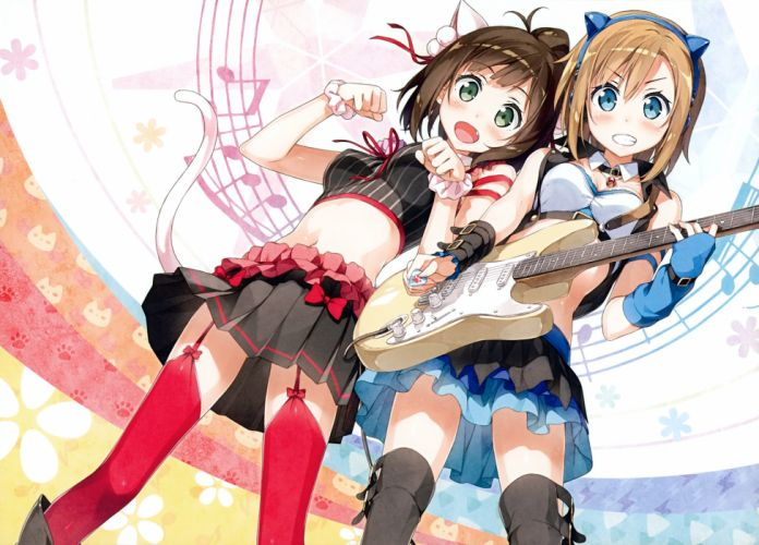 girls blush breasts catgirl fang guitar idolmaster instrument kantoku music navel ribbons scan skirt stockings tada riina tail thighhighs wristwear wallpaper
