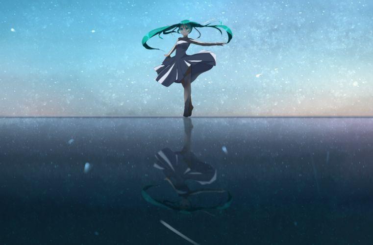 hatsune miku photoshop vocaloid water wallpaper