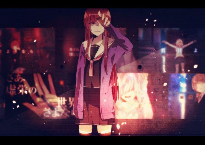 mikanururu original phone red hair seifuku skirt thighhighs vocaloid wallpaper