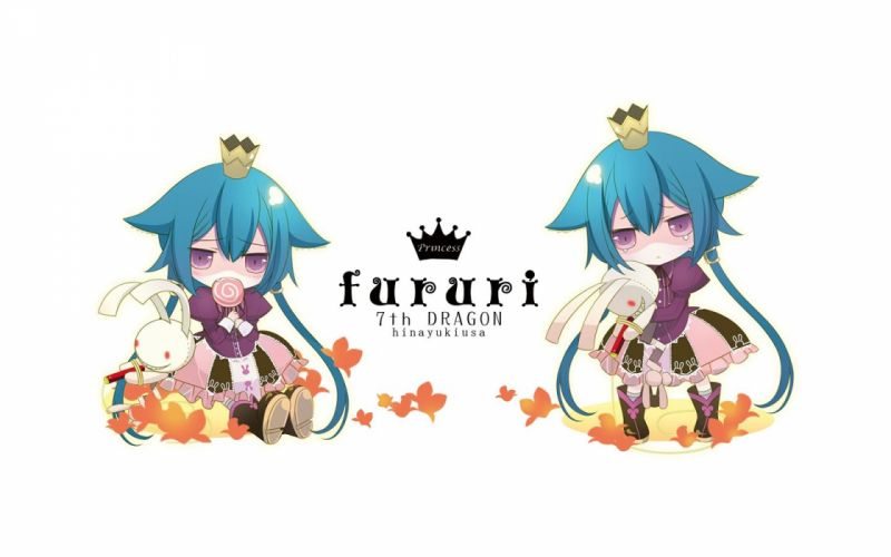 7th dragon blue hair chibi hinayuki usa princess (7th dragon) purple eyes white wallpaper